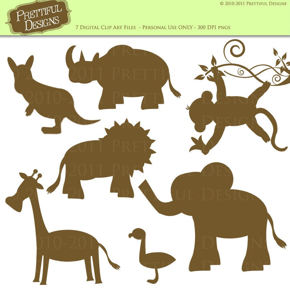 Zoo Animal Silhouette Clipart.