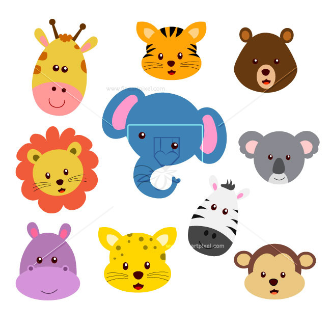Zoo animal faces clipart.