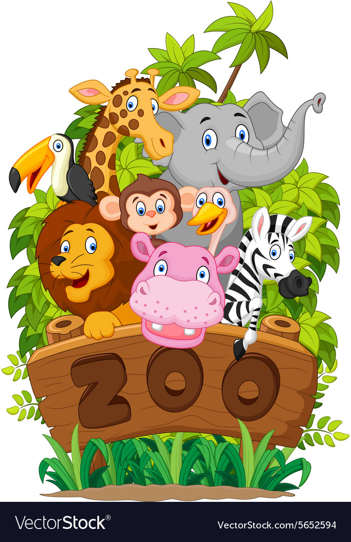 Collection of zoo animals on white background.