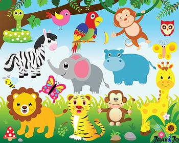 Jungle Animals Clipart Jungle Theme Safari Clipart Digital Paper Zoo  Background.