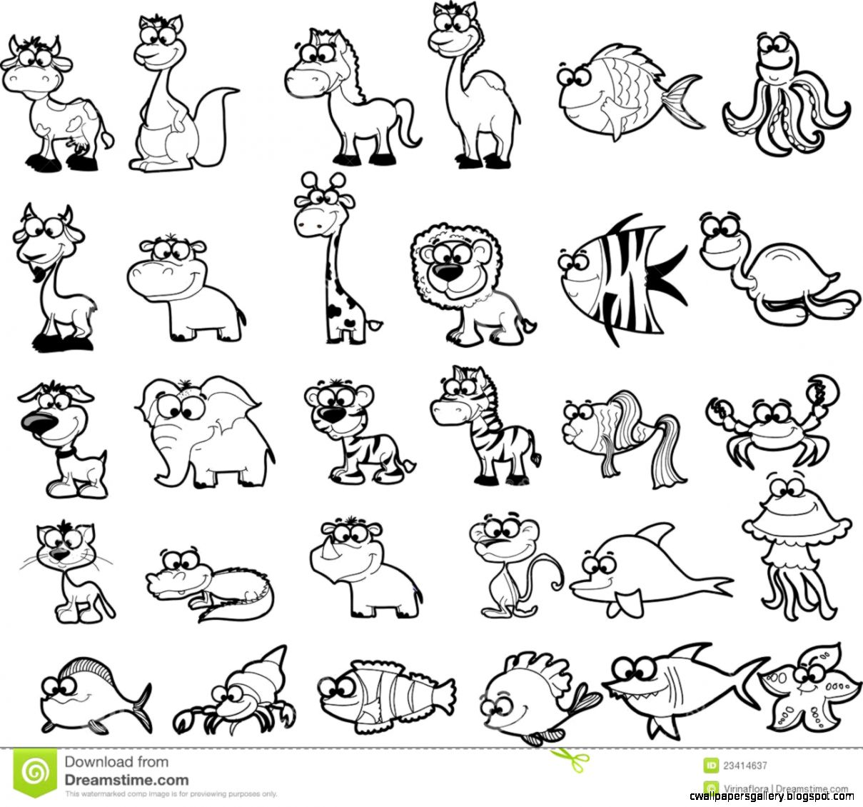 Baby Zoo Animals Clipart Black And White.