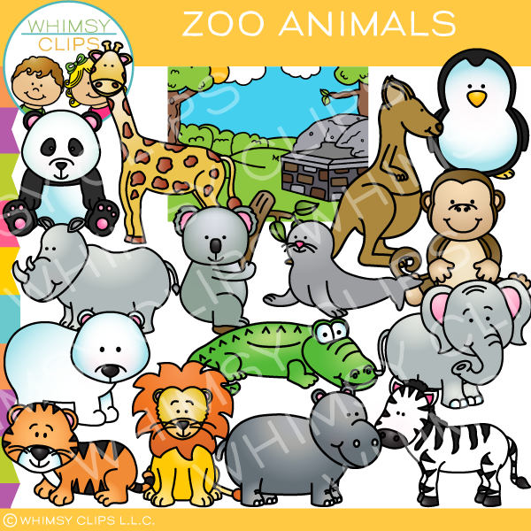 Fun Zoo Animals Clip Art.