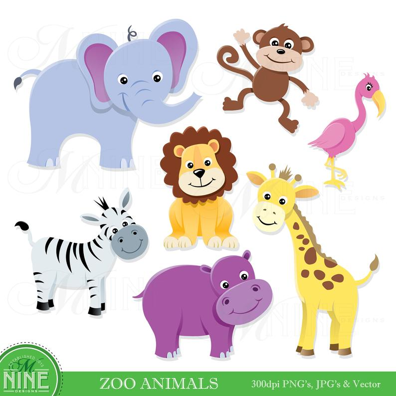 Animal Clip Art / ZOO ANIMALS Clipart / Digital Clip Art, Instant Download,  Zoo Animal Clipart, Vector Flamingo Lion Elephant Clipart.