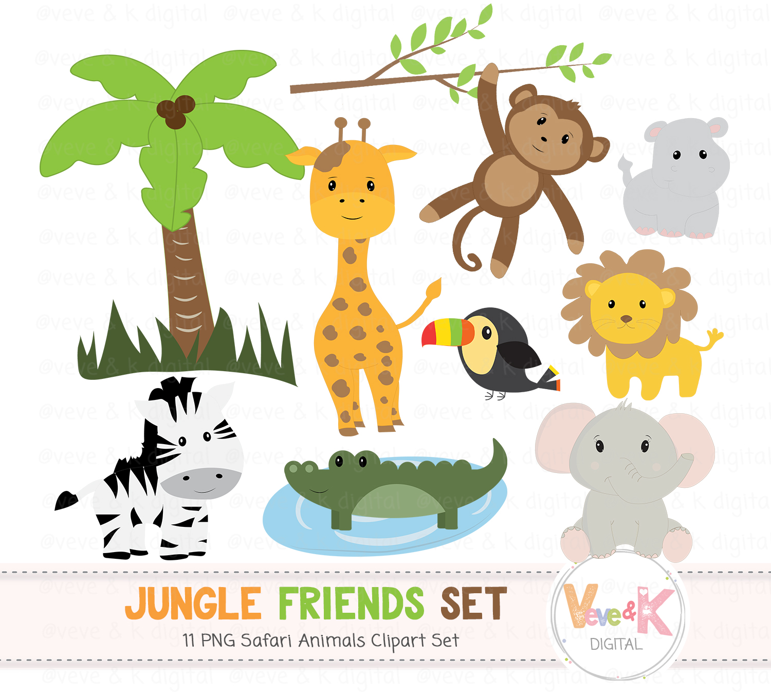 Safari Jungle Animals Clip Art, African Animals Clipart, Jungle Clipart,  Baby Animals, Safari, Zoo Animals, Safari Animals.