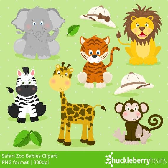 Safari Zoo Animals Clipart, Zoo Animals, Zoo Clipart, Elephant, Lion,  Tiger, Giraffe, Zebra, Monkey, Printable, Commercial Use.