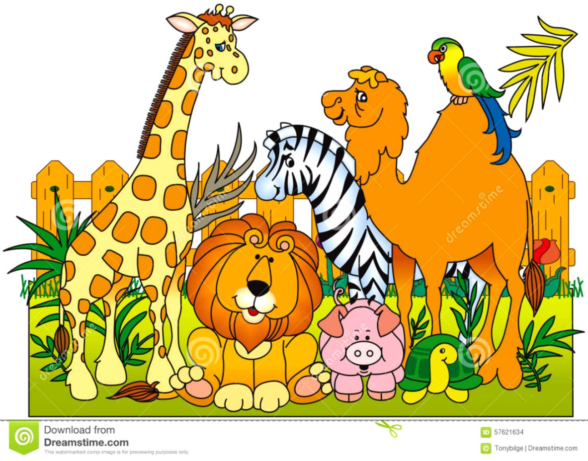 Group Of Zoo Animals Clipart.