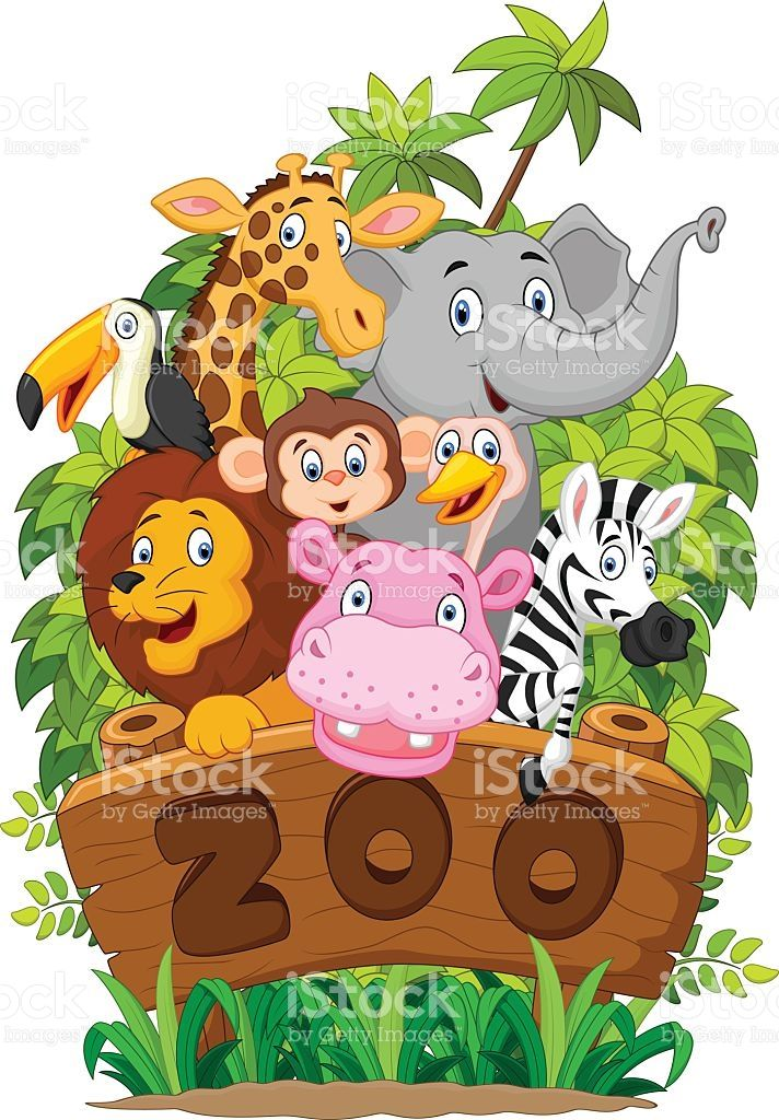 illustration of Collection of zoo animals.