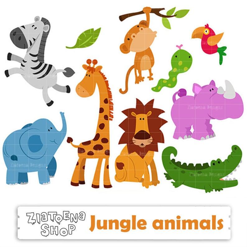 Zoo Animals Clipart Jungle Animals Digital Safari Clip art Zoo Animals  Zebra Elephant Giraffe Lion Monkey Snake Parrot Hippo Crocodile.