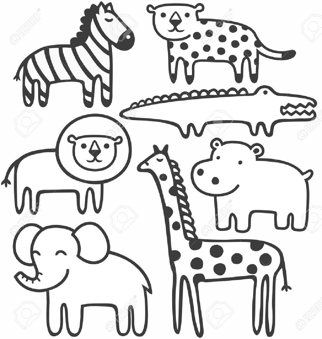 Wild animals in black and white vector illustration set.