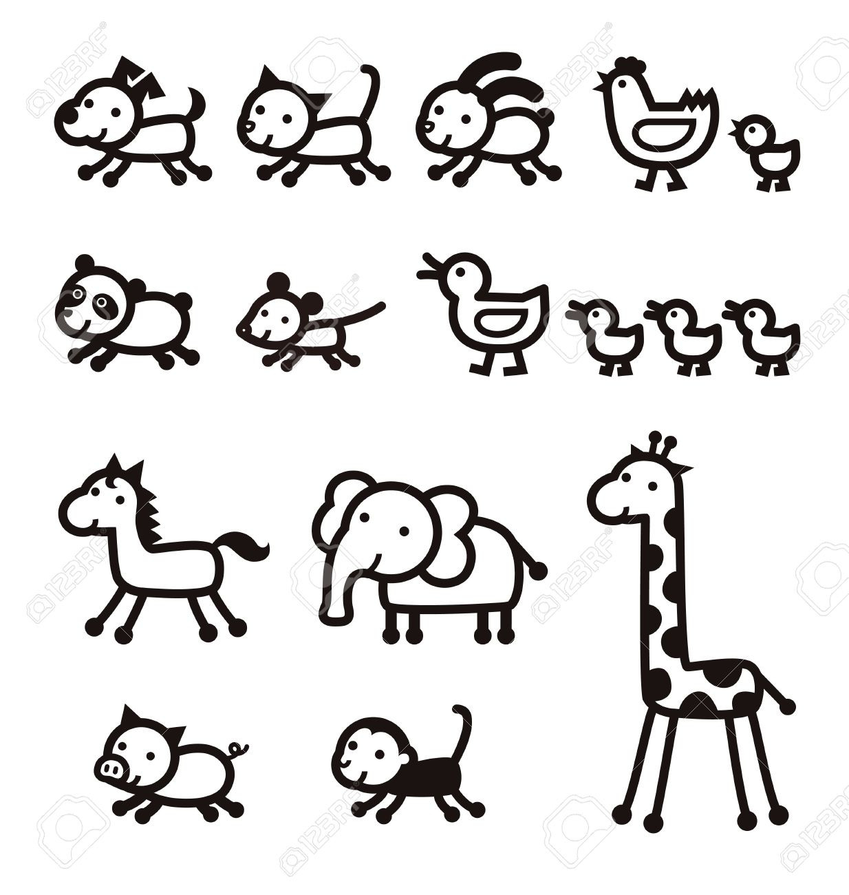 pet, live stock, zoo animal black and white icons.