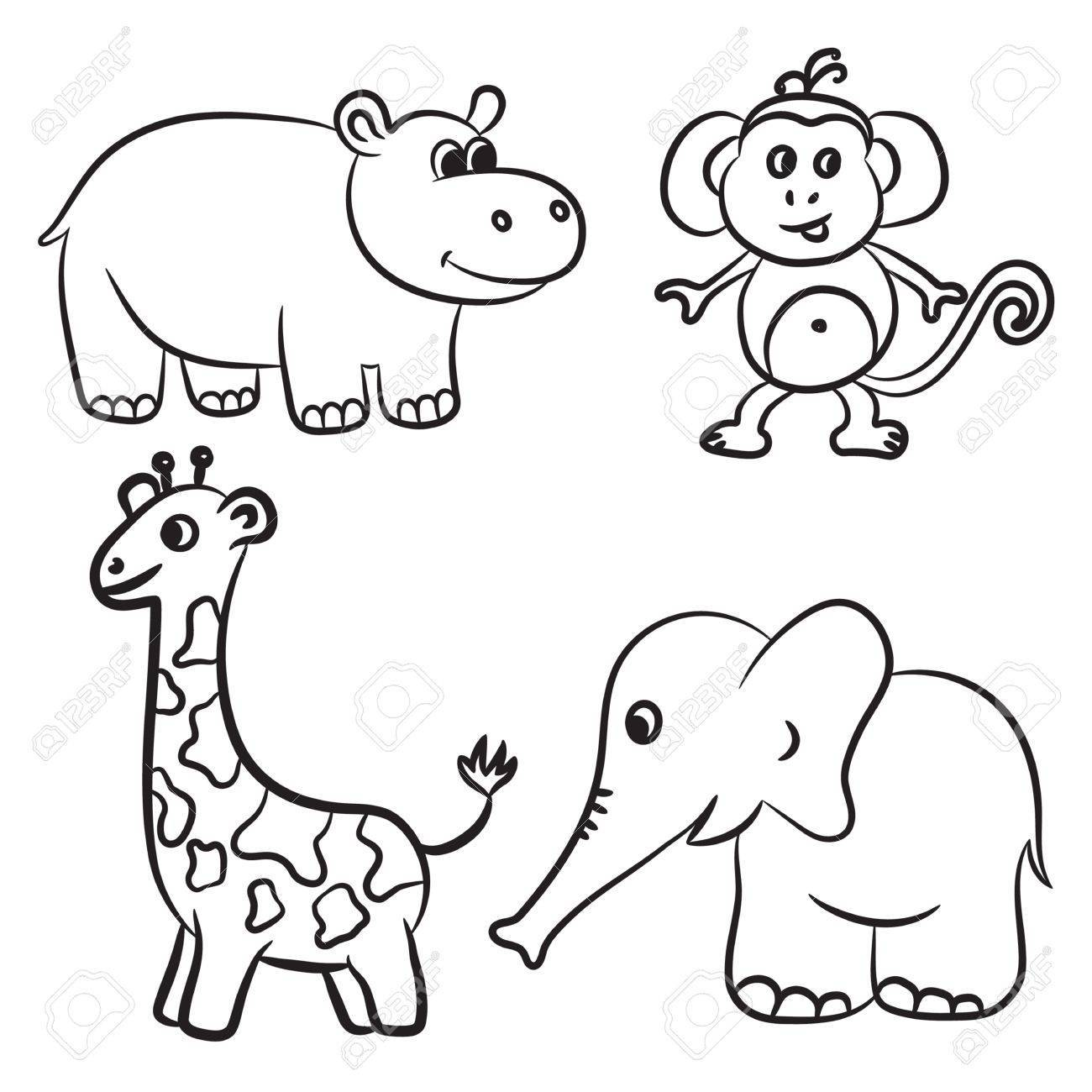 Zoo animals clipart black and white 5 » Clipart Portal.