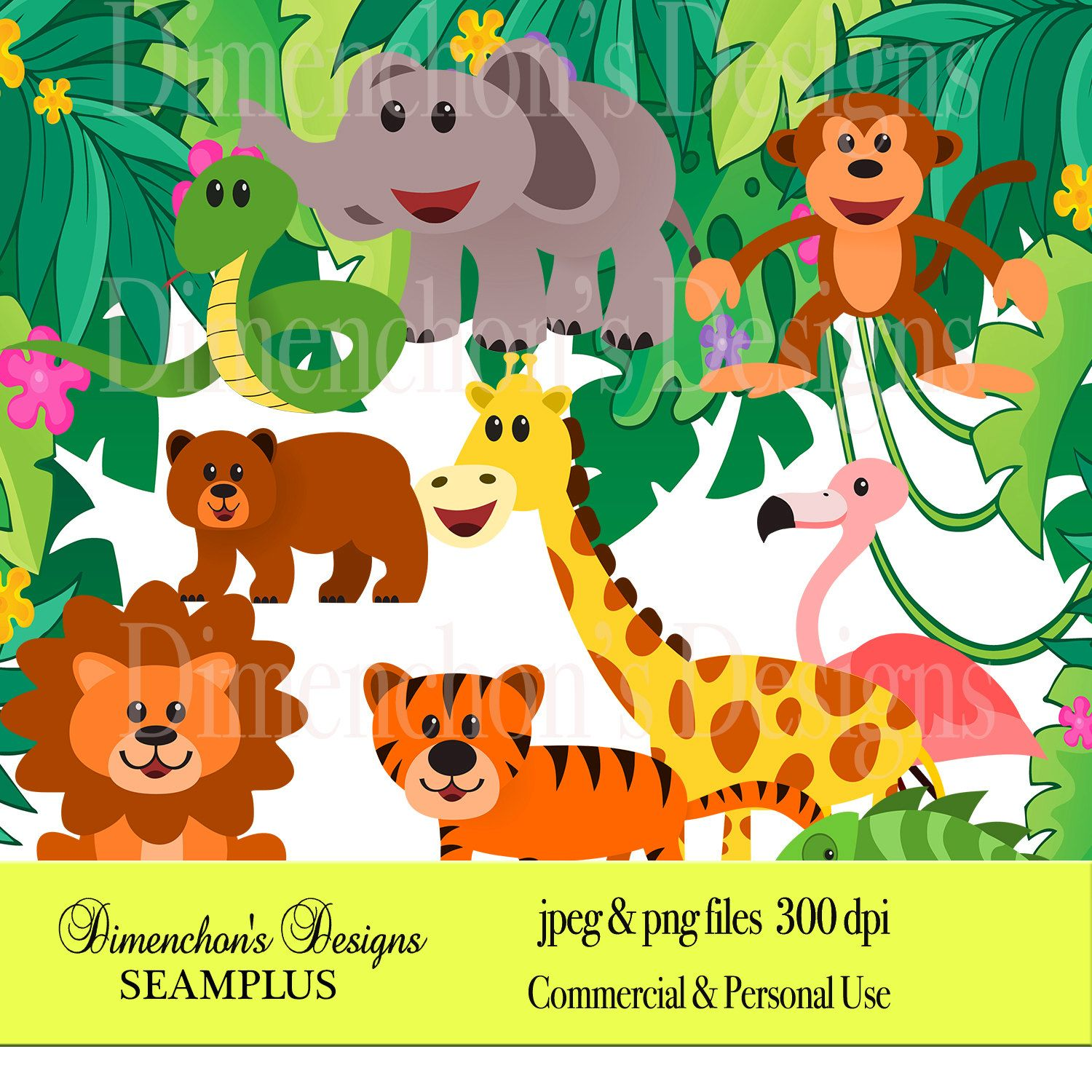 Zoo Animals (Clipart: bear zebra, giraffe, tiger, lion.