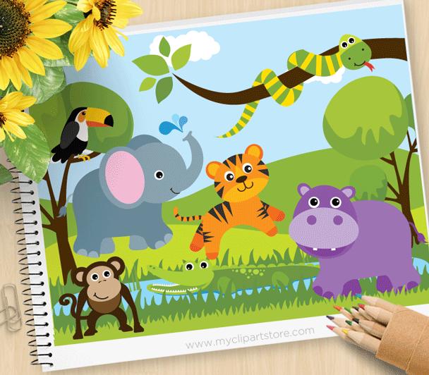Savannah Zoo Animals Clipart.