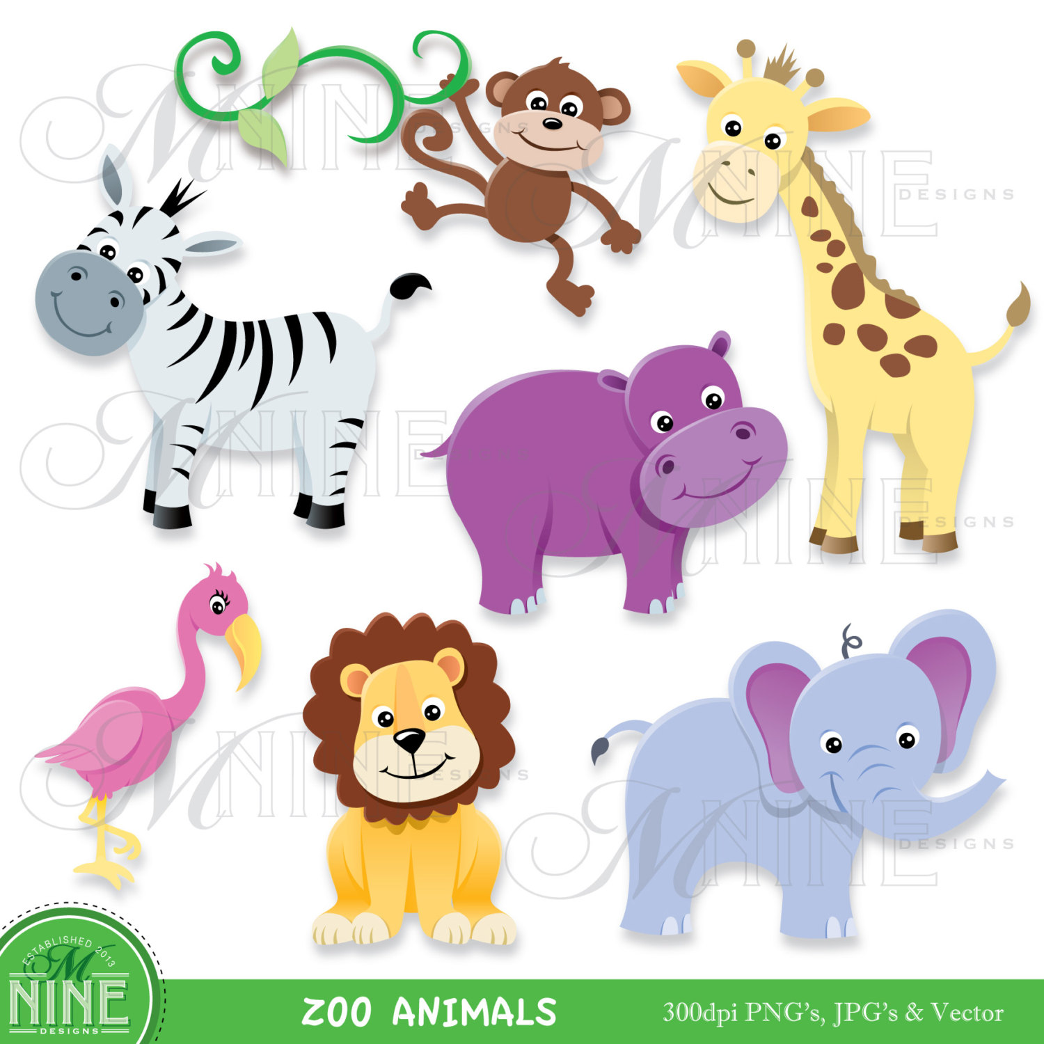 1232 Zoo Animals free clipart.