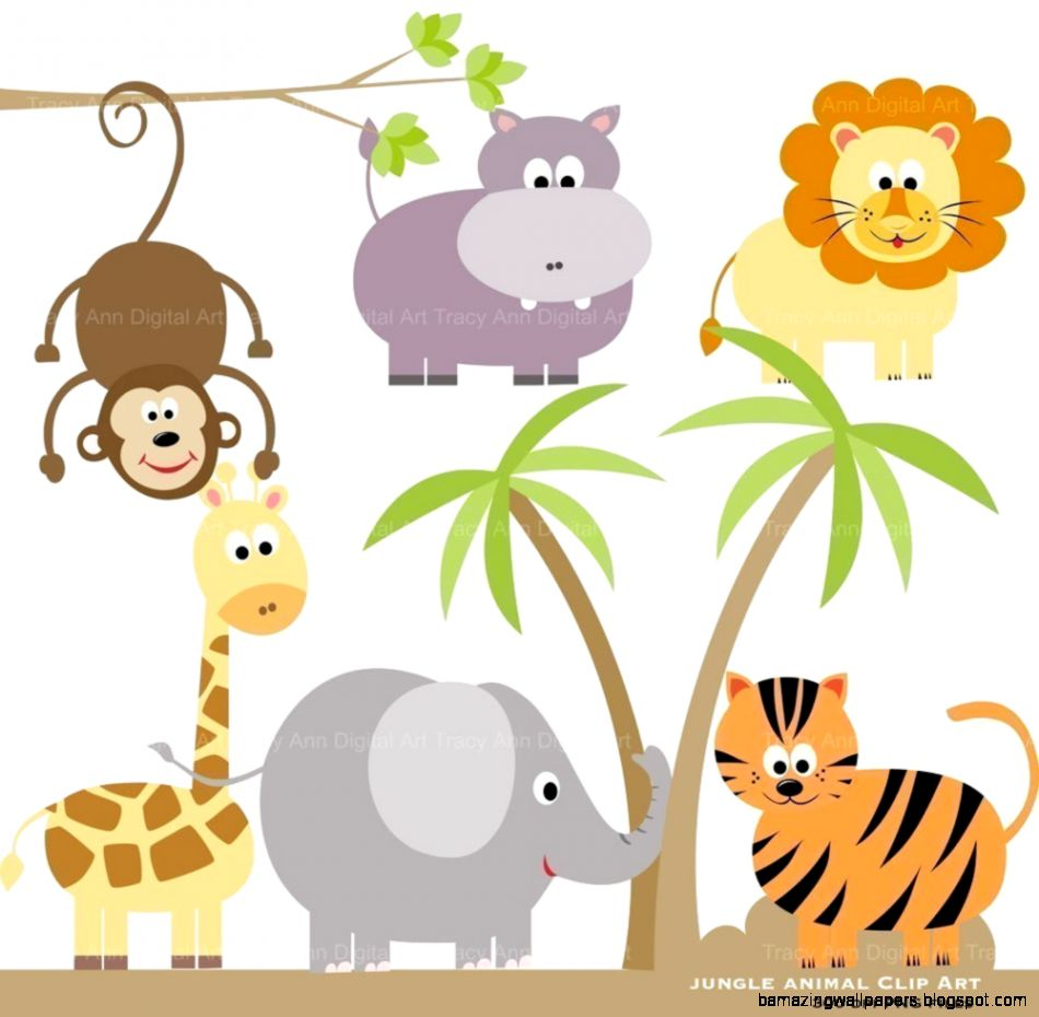 Zoo Animals Together Clipart.