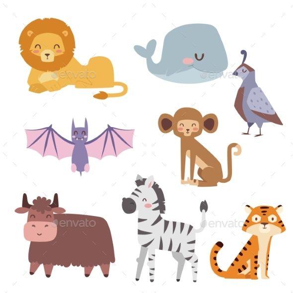 Cute zoo cartoon animals isolated funny wildlife learn cute.