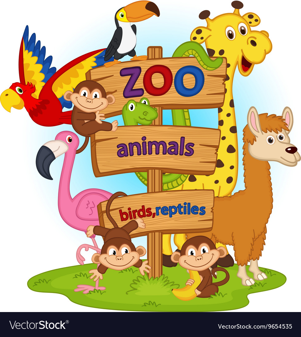 Zoo animals near wooden sign.