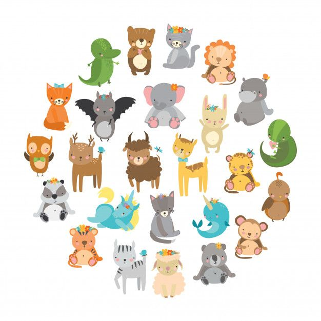 cute zoo animals Free Vector in 2019.