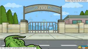 A Crocodile At The Zoo and Zoo Entrance Background.