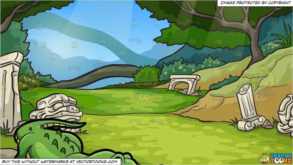 A Crocodile At The Zoo and Mystical Ruins Background.
