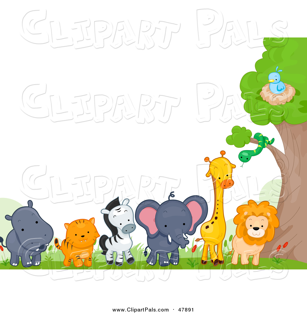 Zoo Animal Border Clip Art.