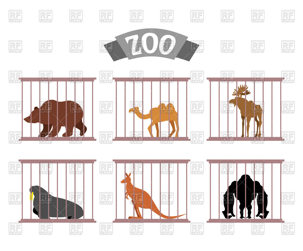 Zoo. Collection of wild animals in cages. Stock Vector Image.