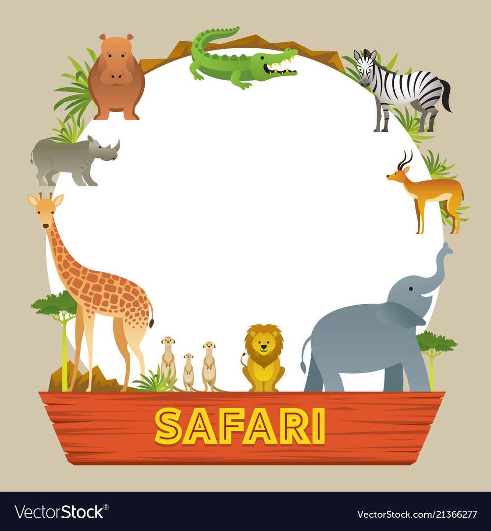 Group of african safari animals frame.