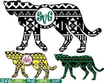 Aztec Leopard Safari Monogram Circle Cutting zoo Silhouette school Clipart.