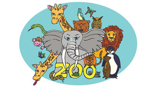 animals from the zoo in the blue circle Clipart Image.