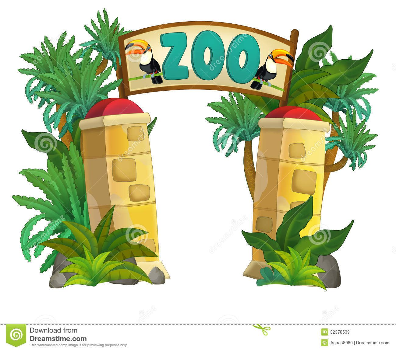 Cartoon Zoo Background.