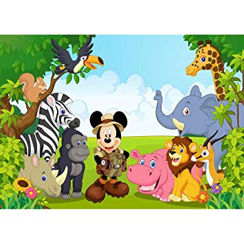 Amazon.com : Safari Animals Zoo Background 7x5 Vinyl Mickey.