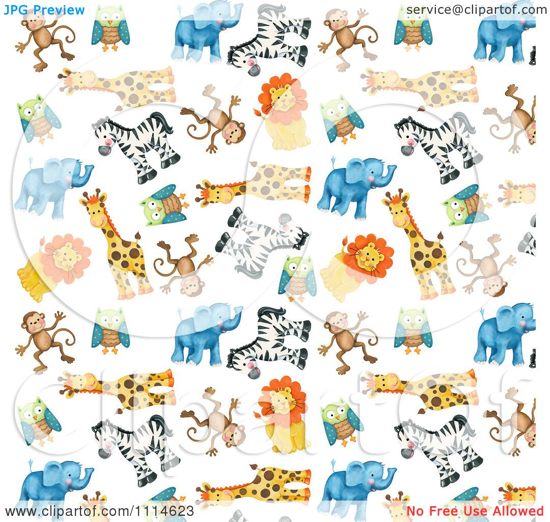 Clipart Background Of Cute Zoo Monkeys Owls Giraffes Zebras Lions.