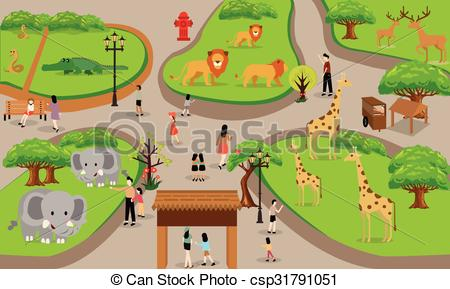 Clipart Vector of zoo cartoon people family with animals scene.