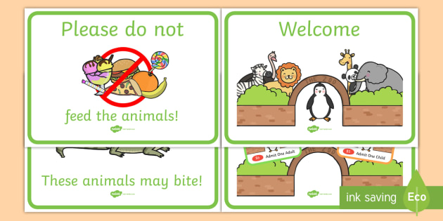 Zoo Dramatic Play Signs.