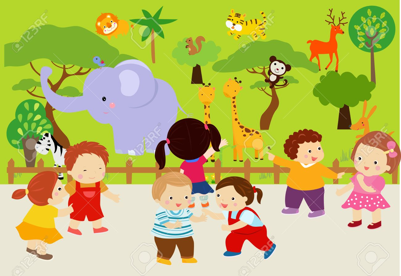Kids At Zoo Clipart.