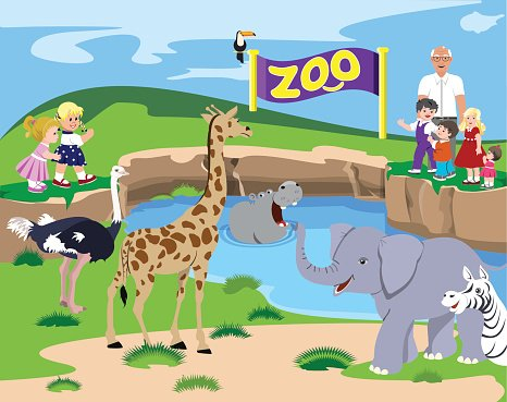 Kids At The Zoo Clipart Image.