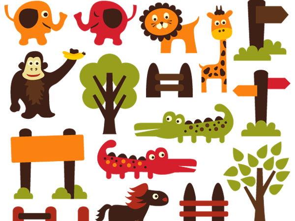 Zoo animals clip art graphics.