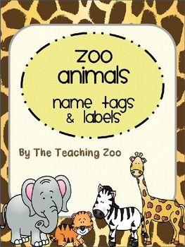 EDITABLE Zoo Animals Name Tags & Labels {Jungle Safari Theme.