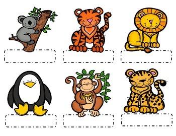 Editable Zoo Animal Name Tags.