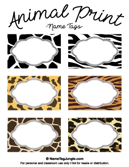 Animal Print Name Tags, other designs on this site too.