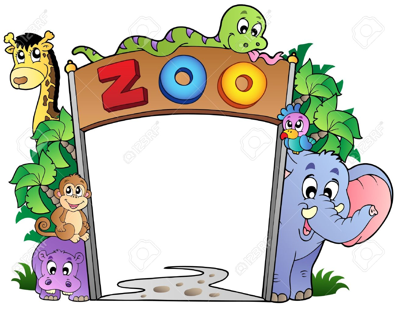 Zoo entrance with various animals.