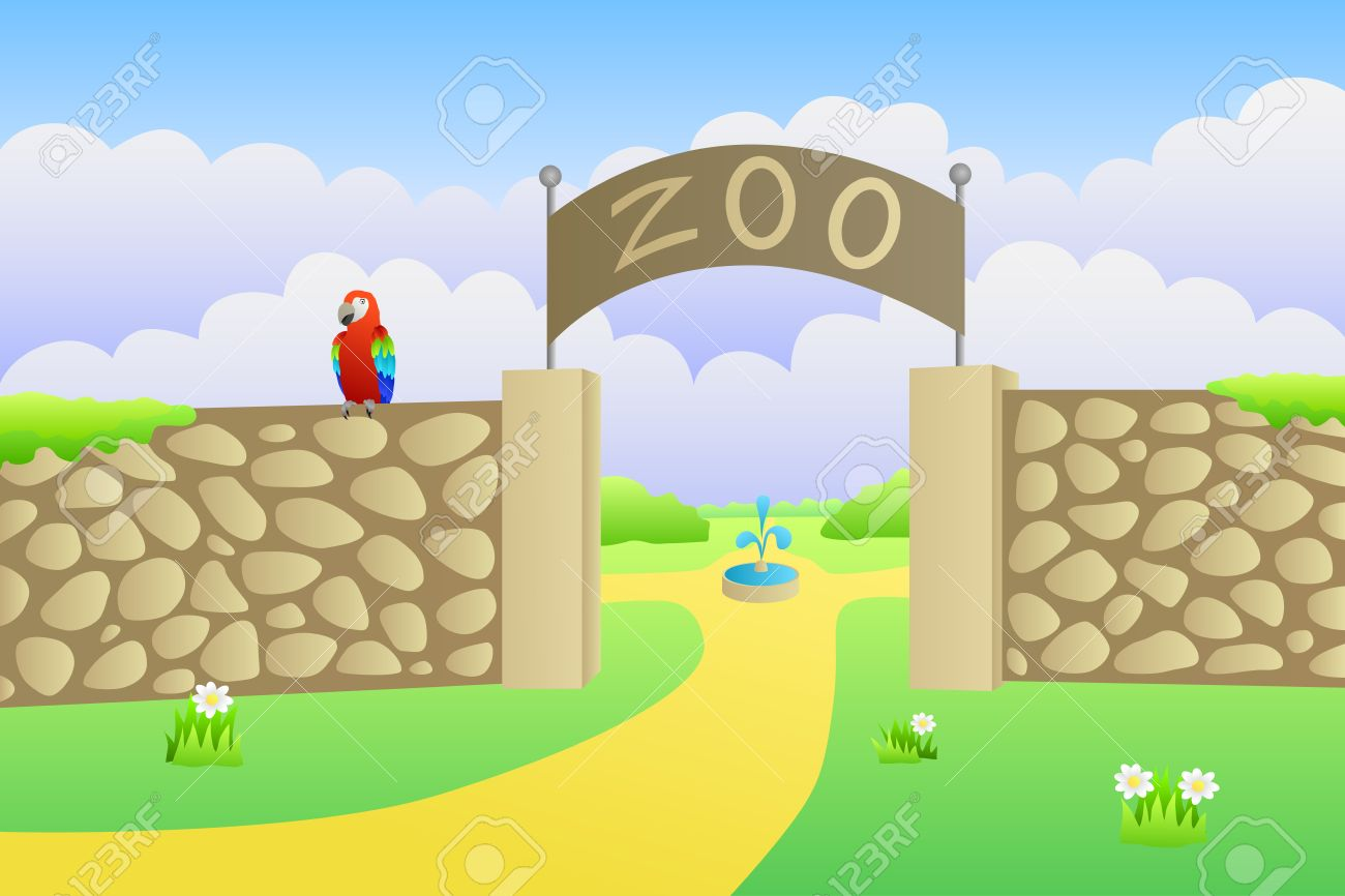 Zoo entrance summer landscape day illustration vector.