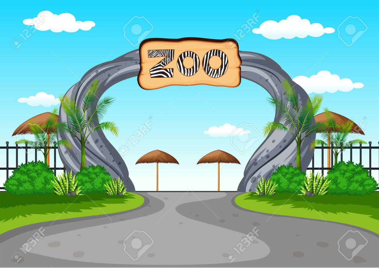 Zoo entrance with no visitors illustration.