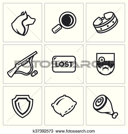 Clipart of Vector Set of Stray Dogs Icons. Pooch, Search, Capture.