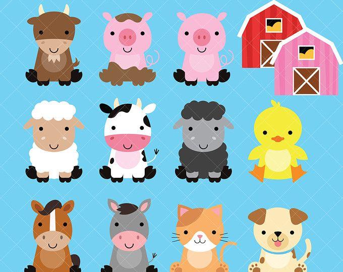 Farm Baby Animals Clipart / Cute Animal Clipart / Barnyard.