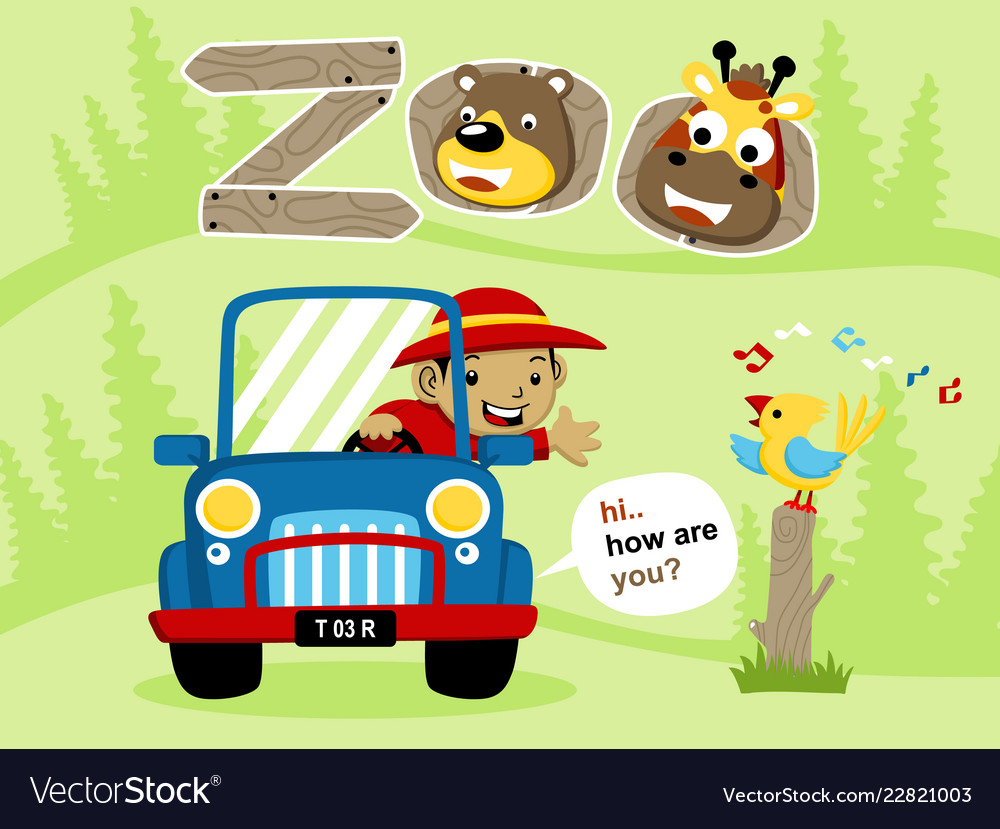 Cartoon of vacation to the zoo.