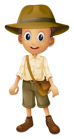 A Zookeeper with Hat on White Background.