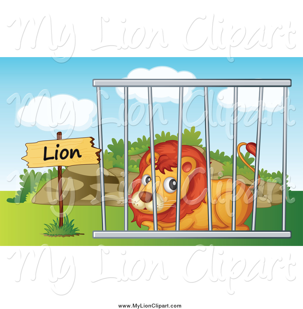 Lion In Zoo Clipart.