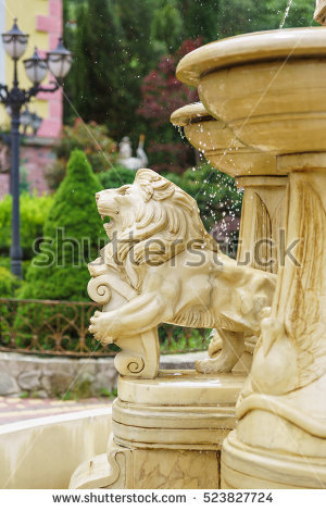 Zoo lion drinking fountain clipart.