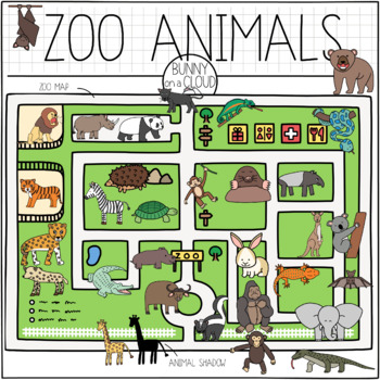 Zoo Animals Clipart by Bunny On A Cloud.